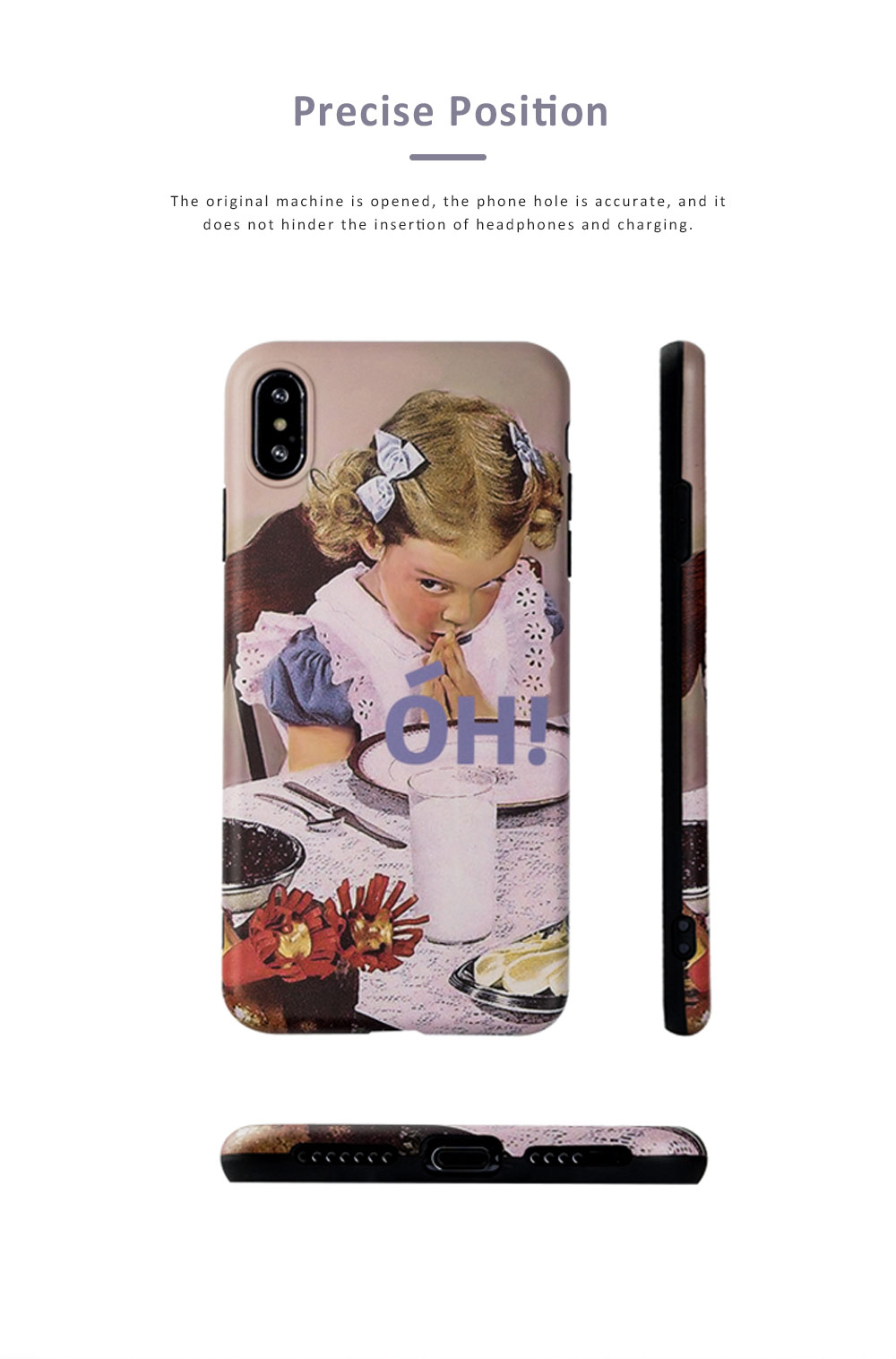 Retro Girl Mobile Phone Case for Apple, All-Inclusive Anti-Drop Soft Plastic Phone Shell Back Cover for iPhone 7 7 Plus 8 8 Plus X XS MAX XR 1