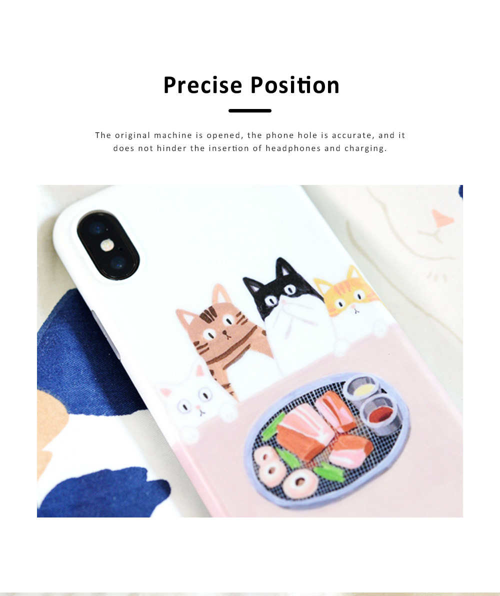 Foodie Cat Phone Cover for iPhone, with TPU Material, Four Cats Stared At the Food Cute Mobile Phone Shell 1
