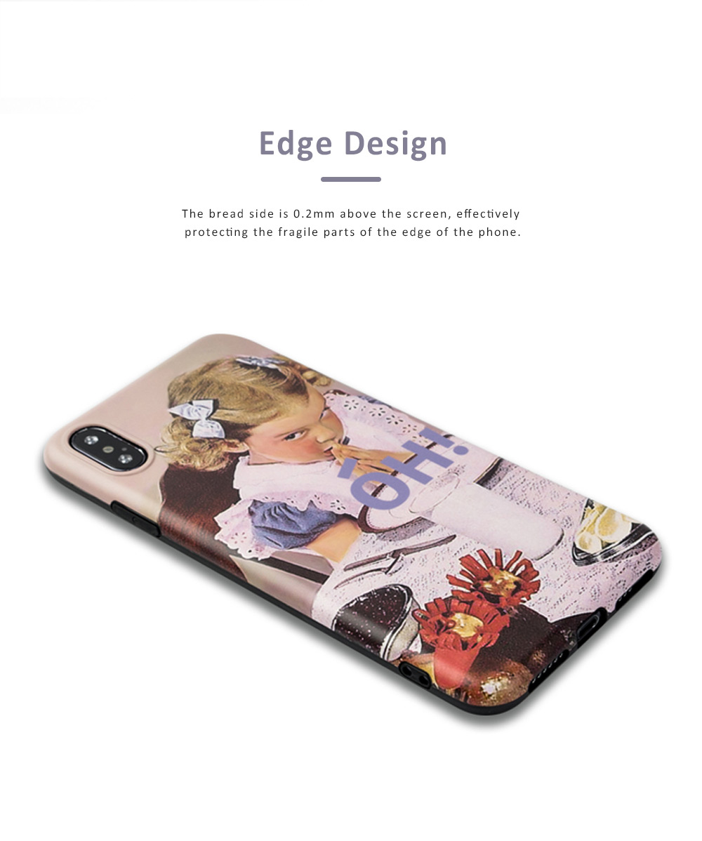 Retro Girl Mobile Phone Case for Apple, All-Inclusive Anti-Drop Soft Plastic Phone Shell Back Cover for iPhone 7 7 Plus 8 8 Plus X XS MAX XR 3