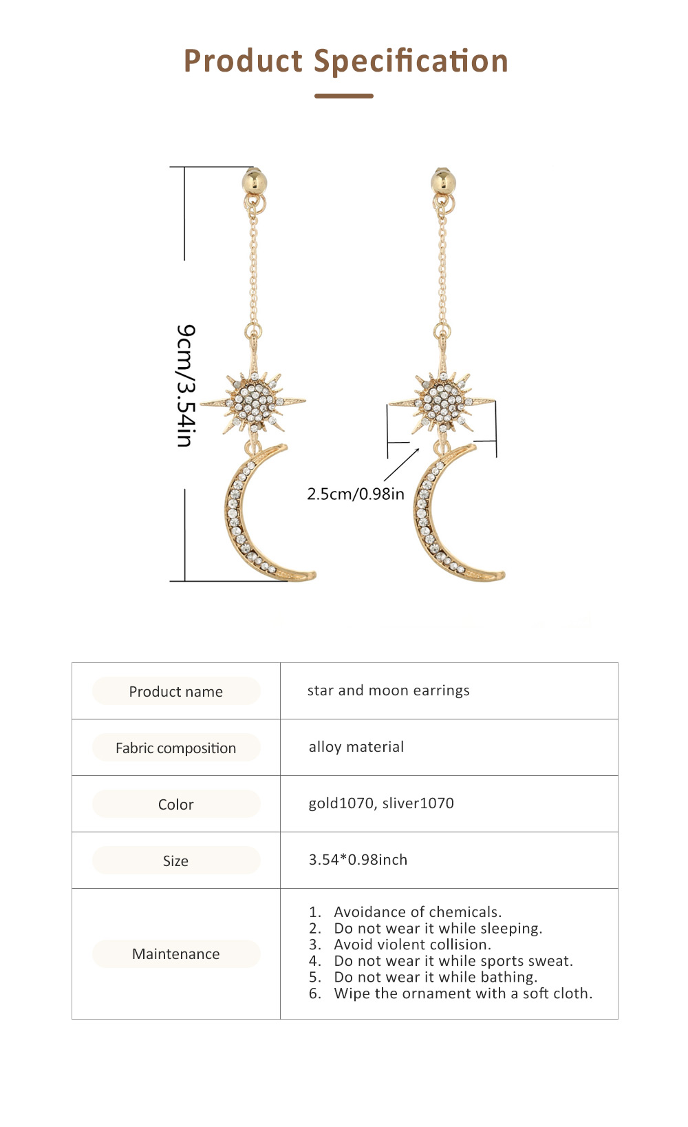 Star and Moon Earrings, with High-quality Alloy Material, Luxuriant Diamond and Tassel Pendant Earrings 6