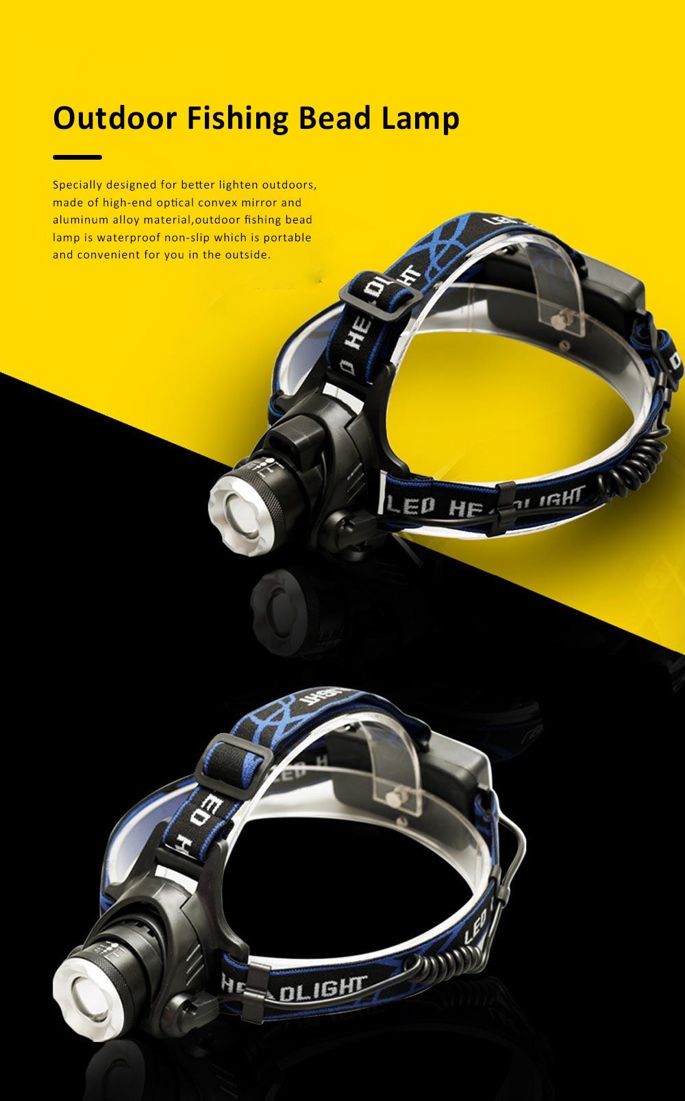 Retractable Adjustable Waterproof LED Strong Light Zoom Outdoor Fishing Bead Lamp with Elastic Light Belt 0