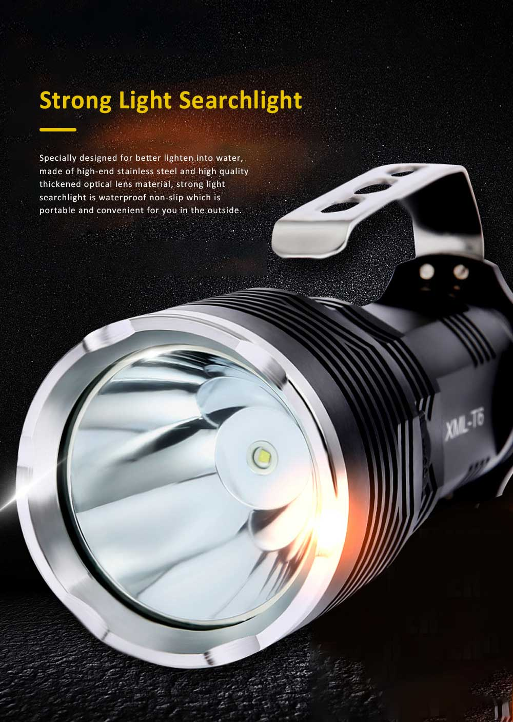 Non-slip & Waterproof Strong Light Searchlight with Probe Handle & Waterproof Rubber Ring 0