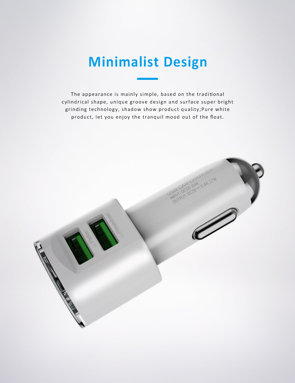 Dual USB 3.4A Zinc Alloy Mobile Phone Tablet Data Cable Car Charger with Intelligent Protection 4