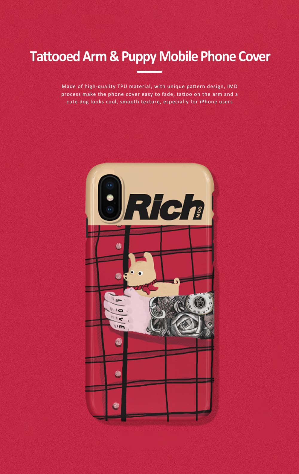 Tattooed Arm and Puppy Mobile Phone Cover for iPhone, with High-quality TPU Material, Cute and Cool Mobile Phone Shell 0