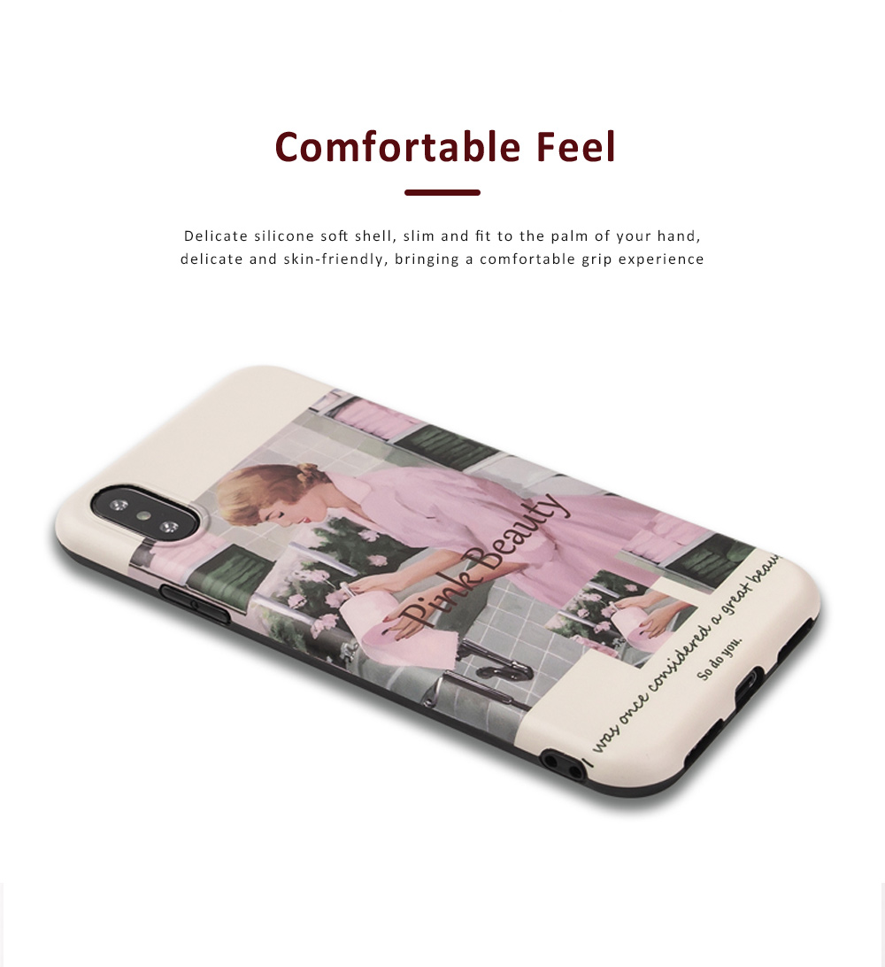 Retro Pink Girl Illustration Phone Case for iPhone 8 7, Elegant and Delicate Protective Case for iPhone XS Max XR X 7 Plus 8 Plus 3