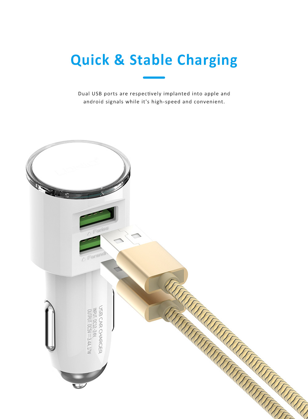 Dual USB 3.4A Zinc Alloy Mobile Phone Tablet Data Cable Car Charger with Intelligent Protection 1