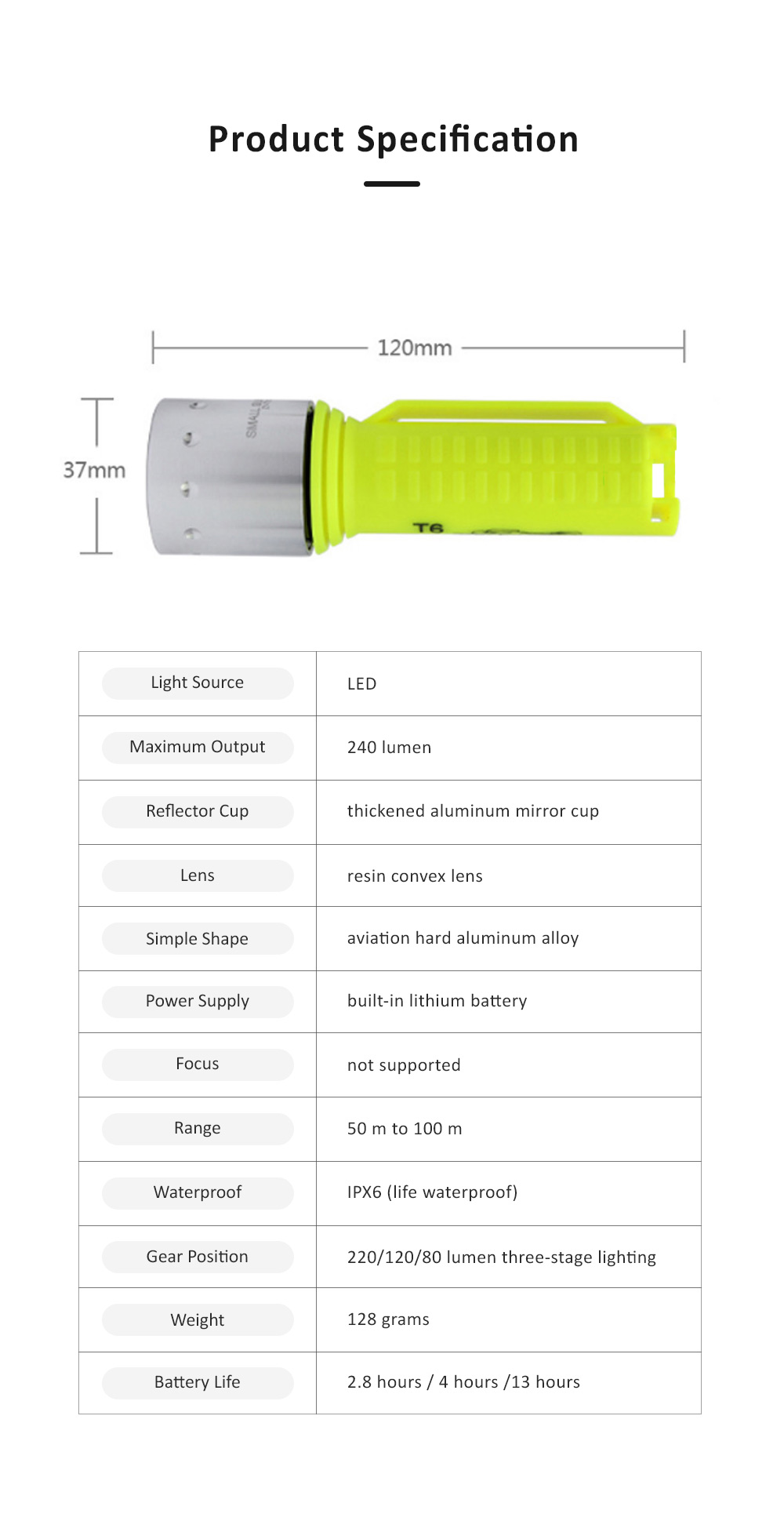 Non-slip & Waterproof Strong Light Diving Torch with High-grade Wrist Rope & Stainless Steel Lamp Holder 6