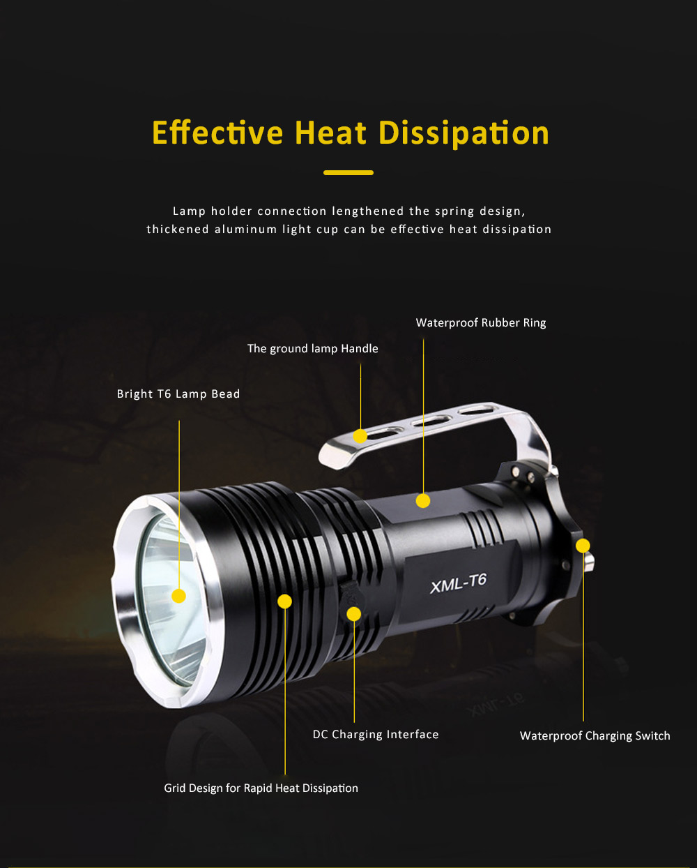 Non-slip & Waterproof Strong Light Searchlight with Probe Handle & Waterproof Rubber Ring 2