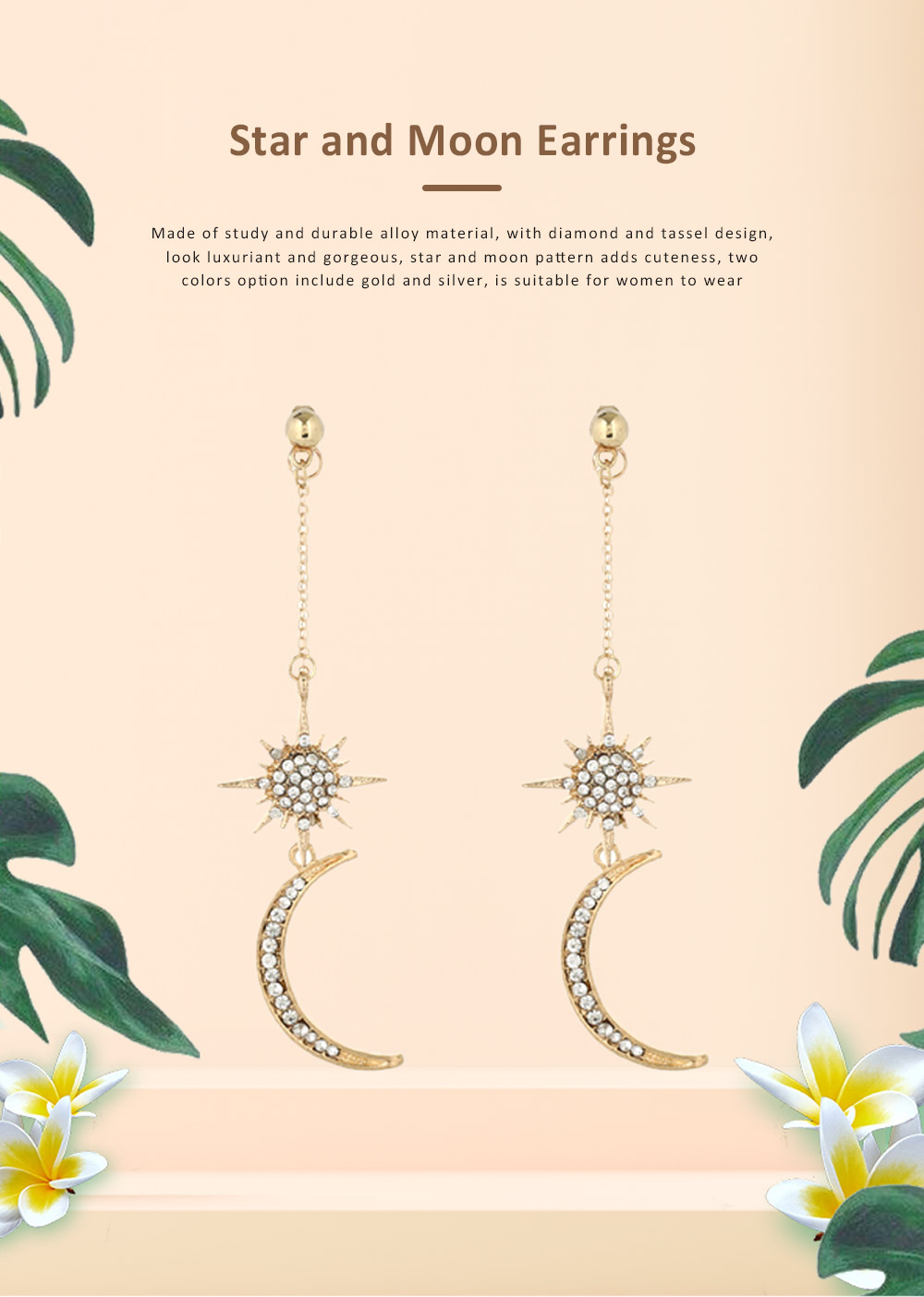 Star and Moon Earrings, with High-quality Alloy Material, Luxuriant Diamond and Tassel Pendant Earrings 0