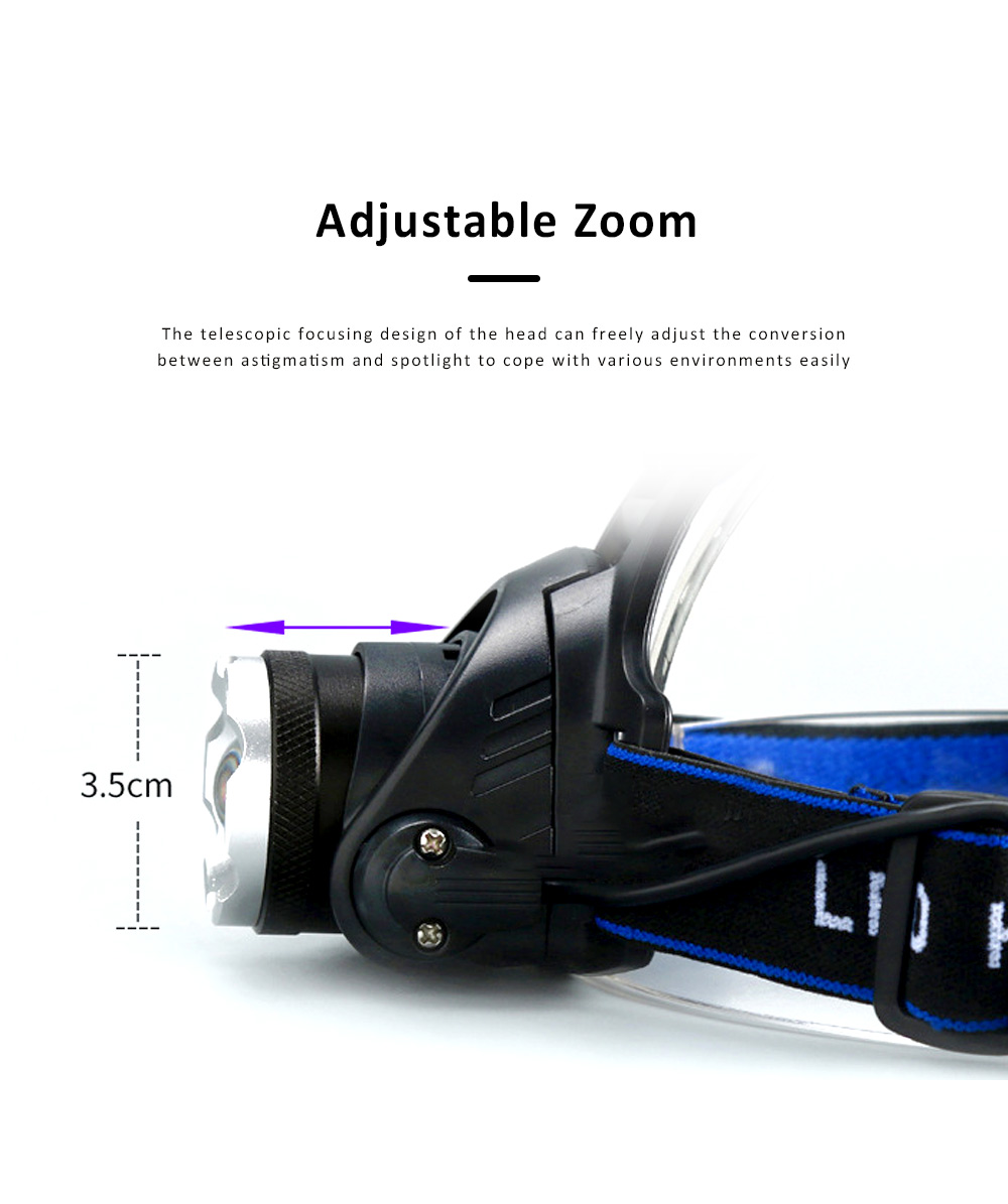 Retractable Adjustable Waterproof LED Strong Light Zoom Outdoor Fishing Bead Lamp with Elastic Light Belt 2