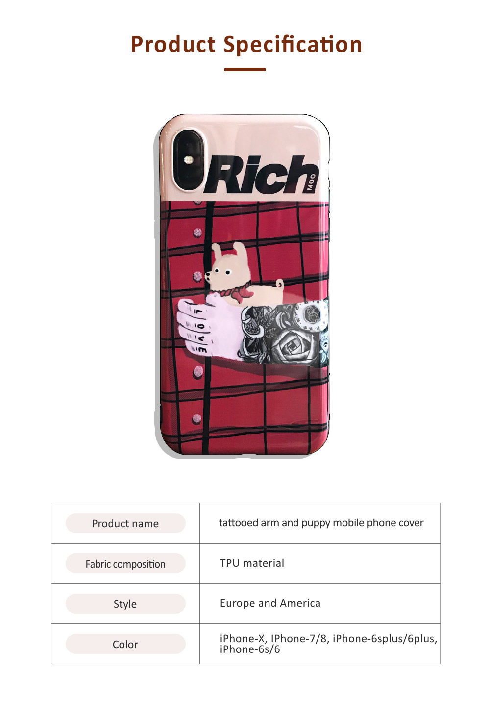 Tattooed Arm and Puppy Mobile Phone Cover for iPhone, with High-quality TPU Material, Cute and Cool Mobile Phone Shell 6