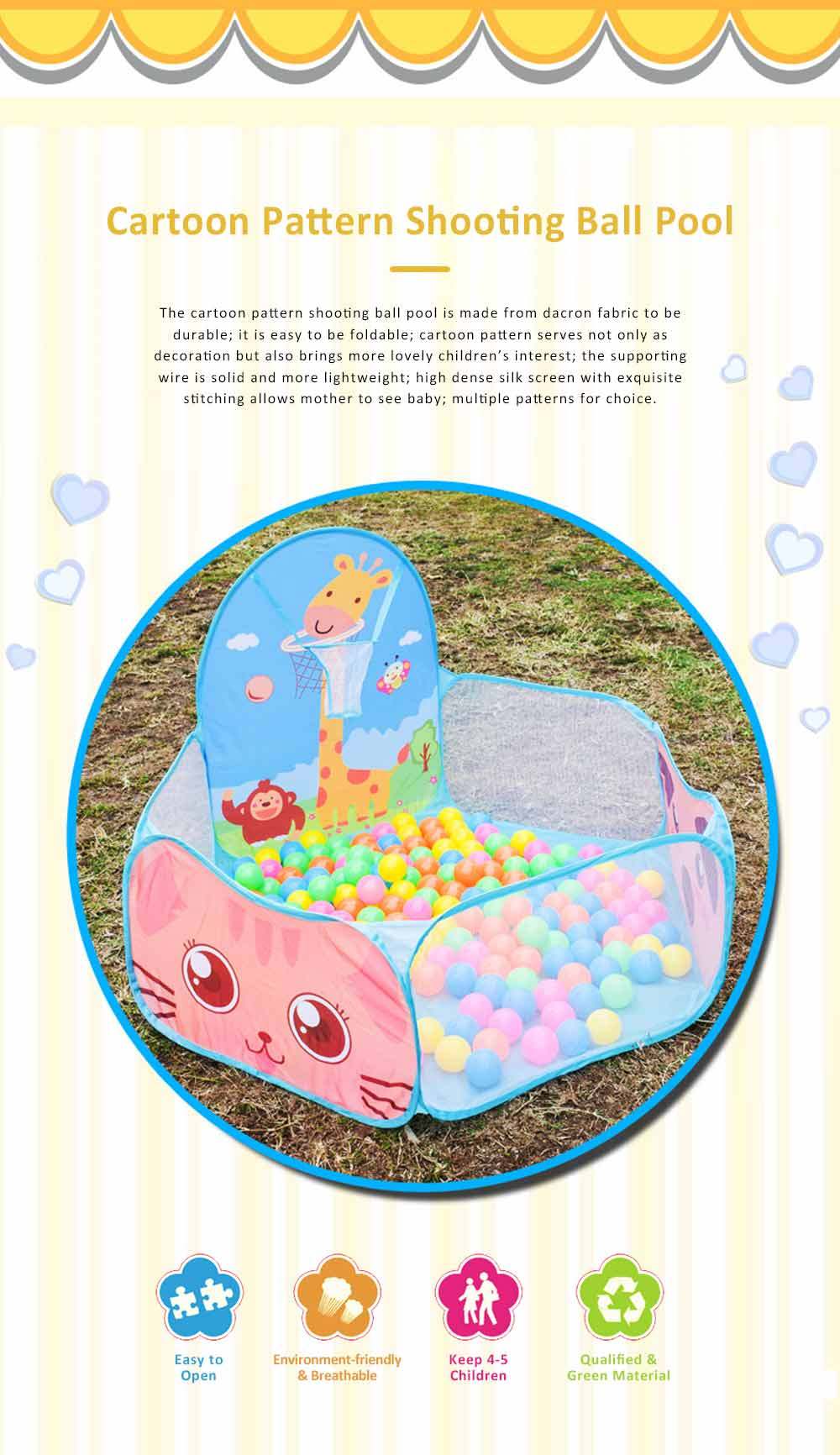 Cartoon Animal Patterns Ocean Ball Pool 1.2-meters, Shooting Basket Ball Box for Children Foldable Ball Pool 0