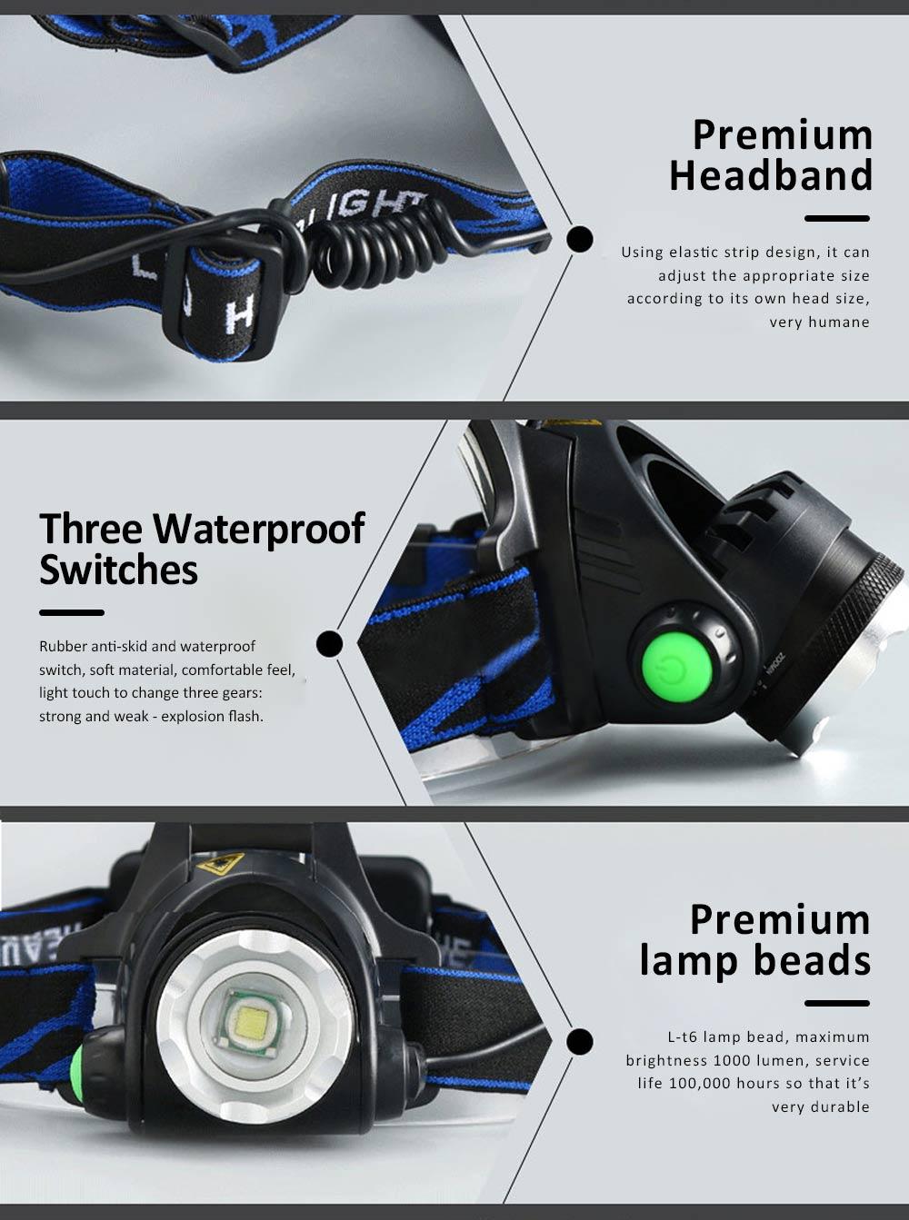 Retractable Adjustable Waterproof LED Strong Light Zoom Outdoor Fishing Bead Lamp with Elastic Light Belt 5