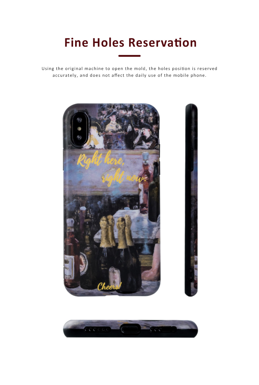 Oil Painting Bottle Apple Mobile Phone Case, Retro All-Inclusive Soft Shell for iPhone Max, iPhone XS, 8 plus, 6s, 7 plus, X, 6 3