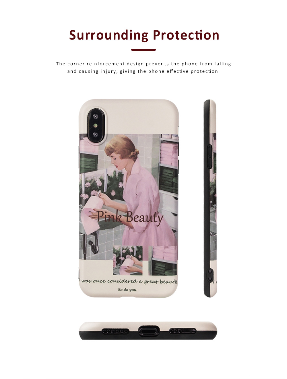 Retro Pink Girl Illustration Phone Case for iPhone 8 7, Elegant and Delicate Protective Case for iPhone XS Max XR X 7 Plus 8 Plus 1