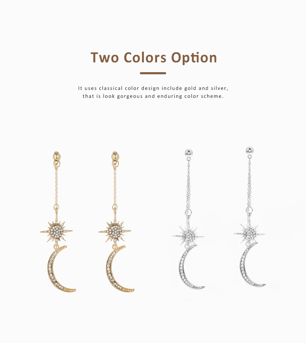 Star and Moon Earrings, with High-quality Alloy Material, Luxuriant Diamond and Tassel Pendant Earrings 4