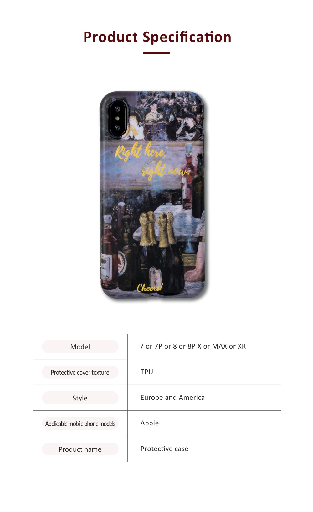 Oil Painting Bottle Apple Mobile Phone Case, Retro All-Inclusive Soft Shell for iPhone Max, iPhone XS, 8 plus, 6s, 7 plus, X, 6 6