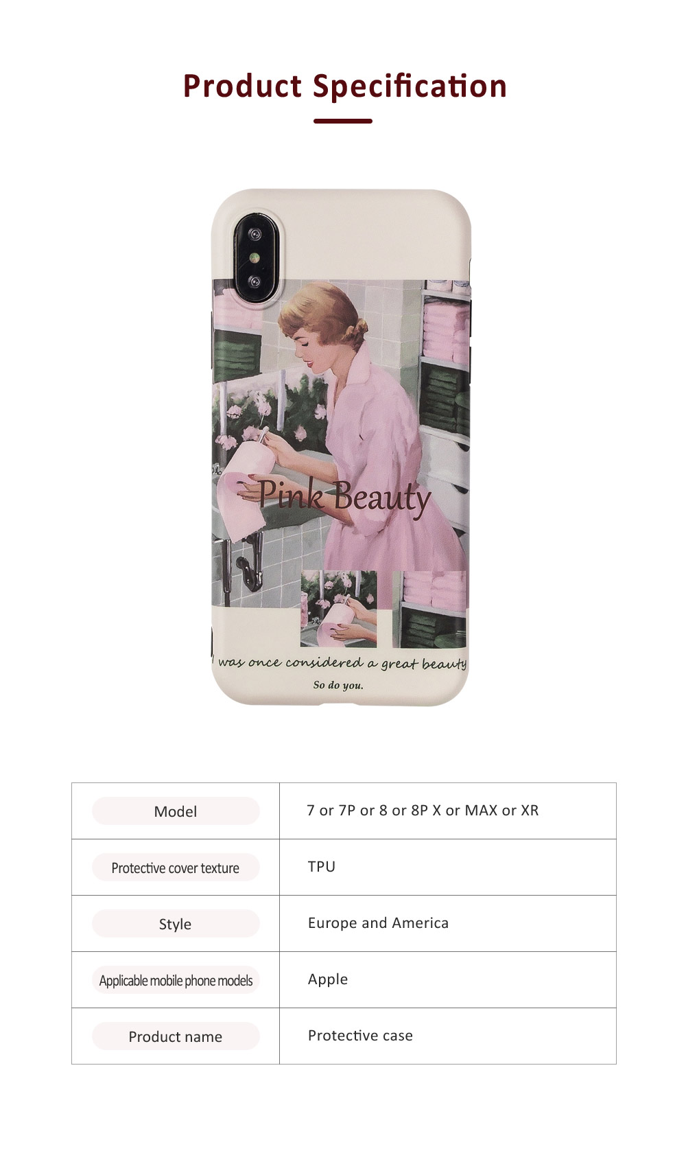 Retro Pink Girl Illustration Phone Case for iPhone 8 7, Elegant and Delicate Protective Case for iPhone XS Max XR X 7 Plus 8 Plus 6