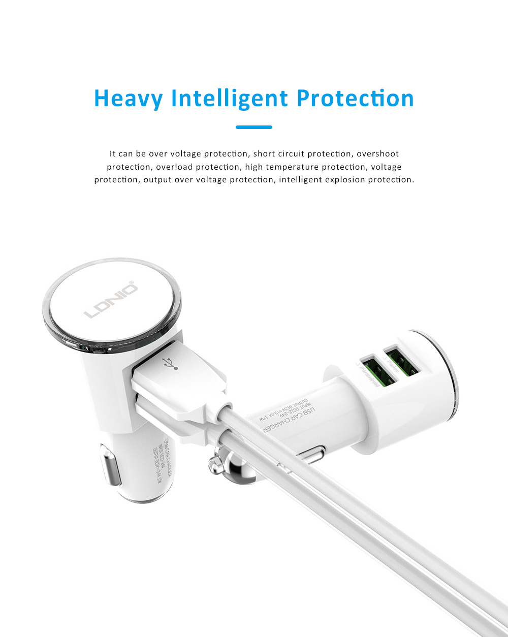 Dual USB 3.4A Zinc Alloy Mobile Phone Tablet Data Cable Car Charger with Intelligent Protection 3
