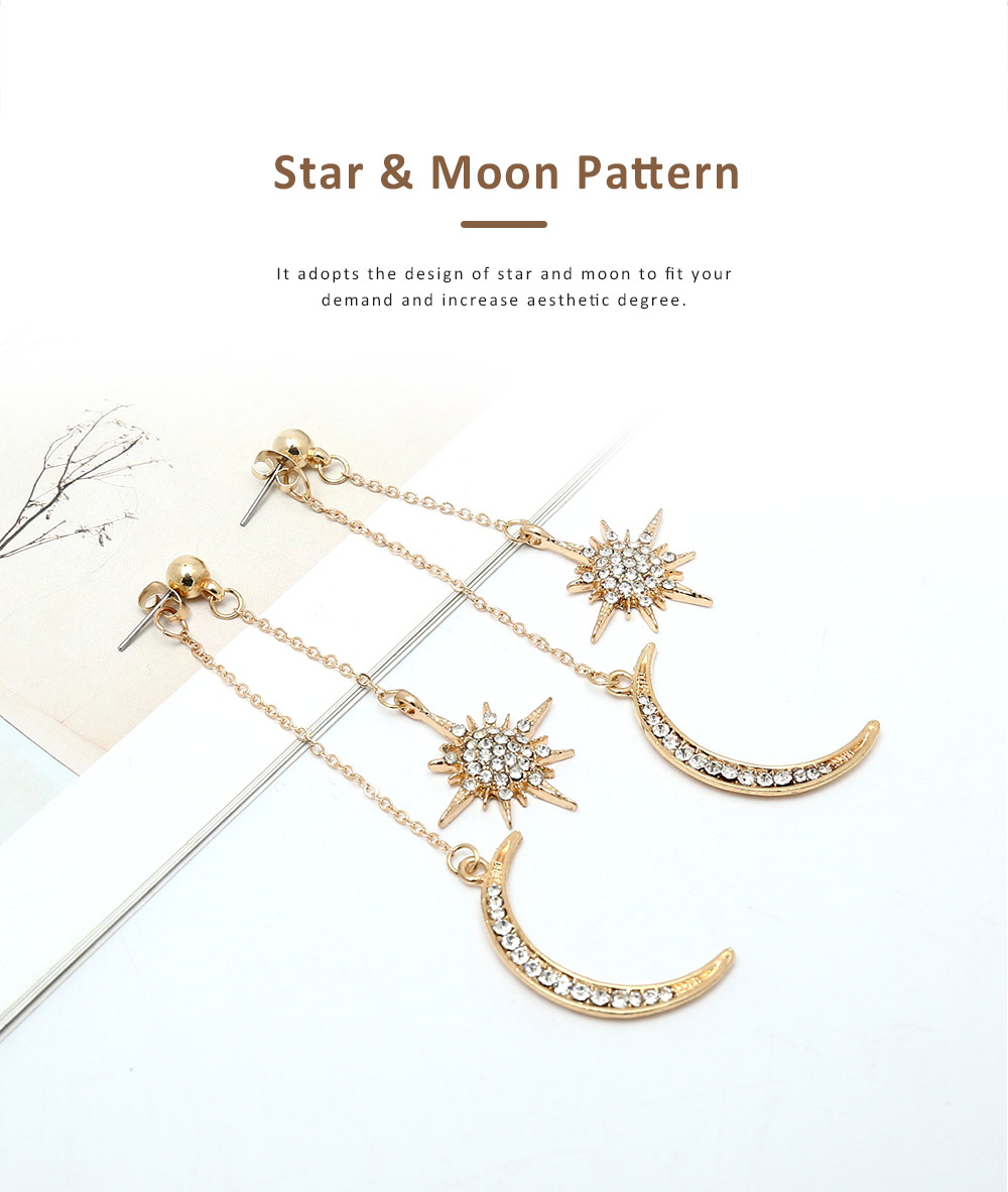 Star and Moon Earrings, with High-quality Alloy Material, Luxuriant Diamond and Tassel Pendant Earrings 1