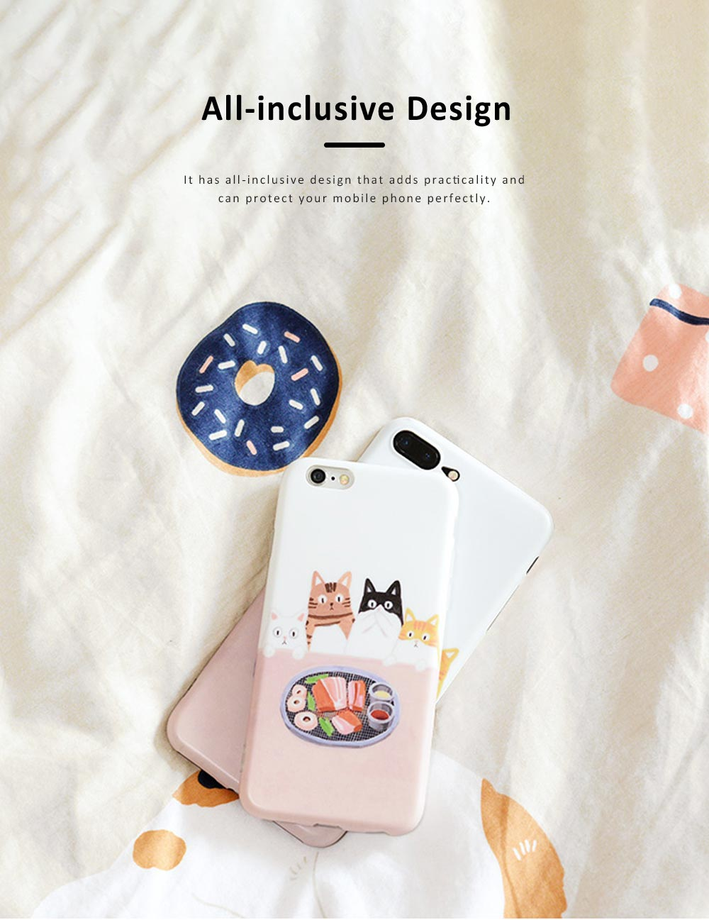Foodie Cat Phone Cover for iPhone, with TPU Material, Four Cats Stared At the Food Cute Mobile Phone Shell 2
