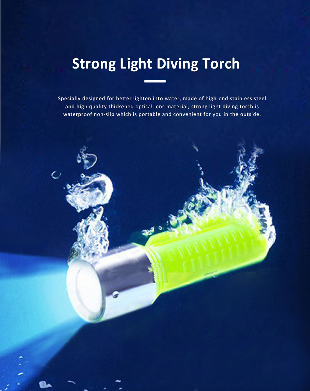Non-slip & Waterproof Strong Light Diving Torch with High-grade Wrist Rope & Stainless Steel Lamp Holder 0