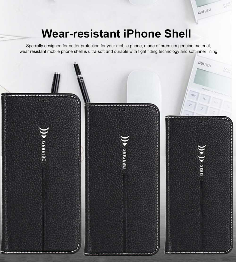Wear-resistant Leather Crash-resistant Phone Shell with Soft Shell Edge Designed with Support Function & Card Slot for iphone 5 5s 5SE, 6 6S 7 8 Plus, X XS XR 0