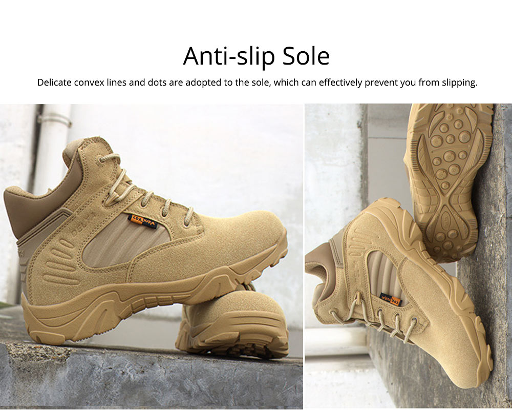 Unisex Comfortable Outdoors Low-cut Army Boots, Waterproof Breathable Combat Tactical Hiking Desert Shoes for Women Men 2