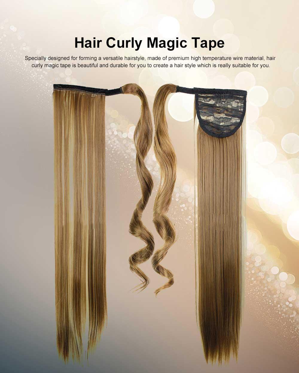 Lifelike & Vivid Wig Chemical Fiber Long Straight Hair Curly Magic Tape with Binding Design 0