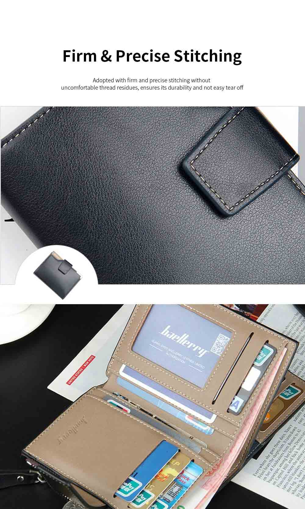 Men's Tri-fold PU Leather Handbag with Zipper, Multi-functional Organizer Card Cash Wallet for Men 5