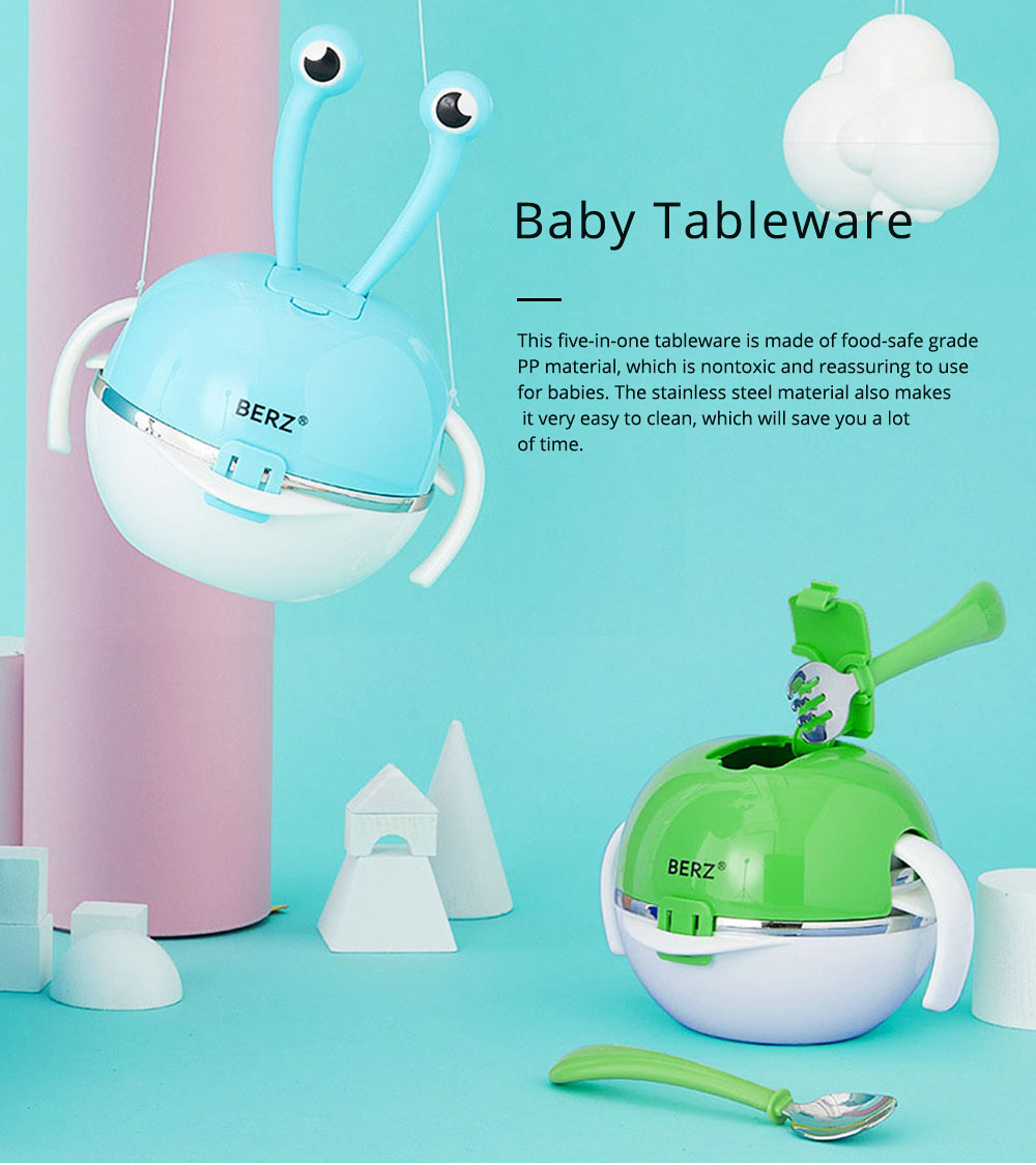 Lovely Cartoon 304 Stainless Steel Tableware for Kids, 5 in 1 Portable Cute Superior Food safe Material Spoon, Fork and Bowl 0