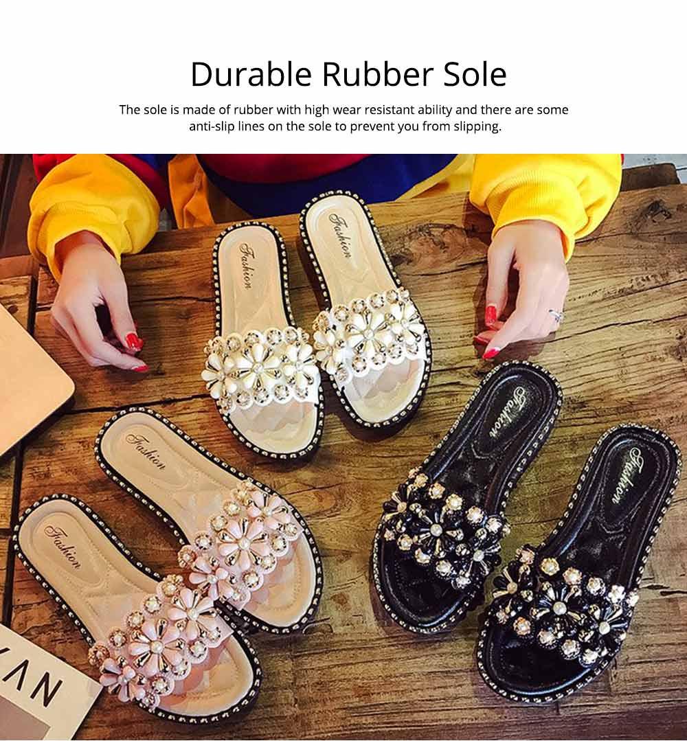 Elegant Fancy Flower Rhinestone Pearl Decoration Lady Sandals, Soft Comfortable PU Leather Fashion Sandals for Women 3
