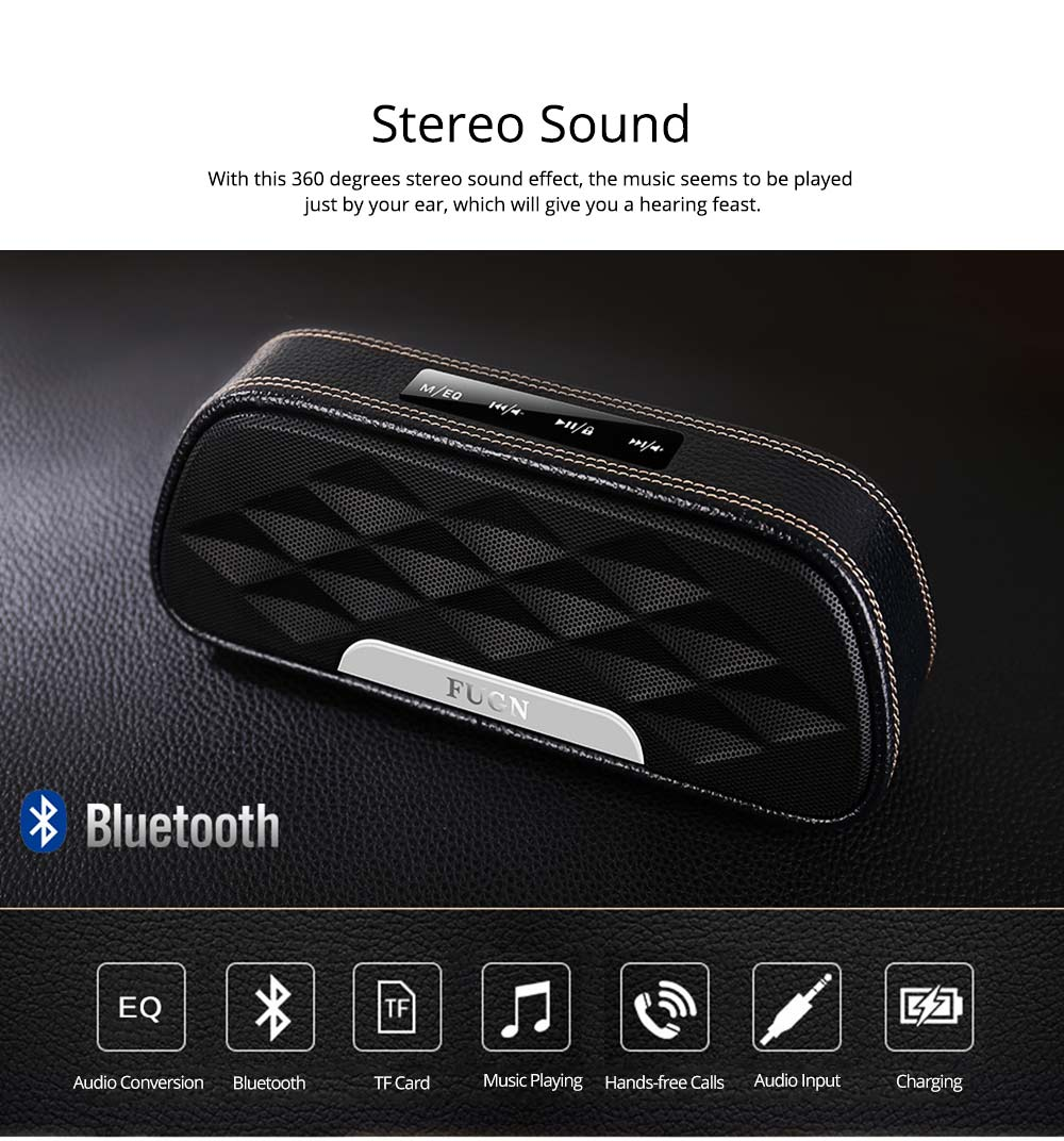 Portable Outdoor Smart Bluetooth Speaker, Full-grain Cow leather Superior Texture Touch Control Loud Speaker Box for Square Dancing 3
