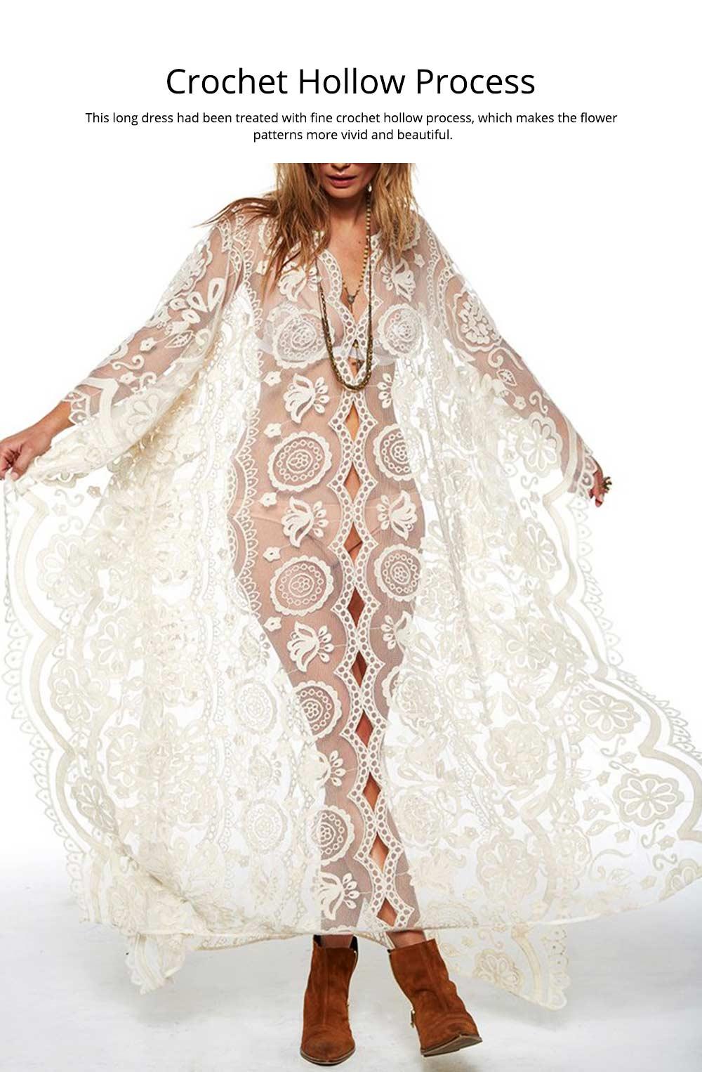 Delicate Fancy Crochet Hollow Lace Grenadine Long Dress, Sexy Fashion Flower Model Ladies Breach Evening Dress 2