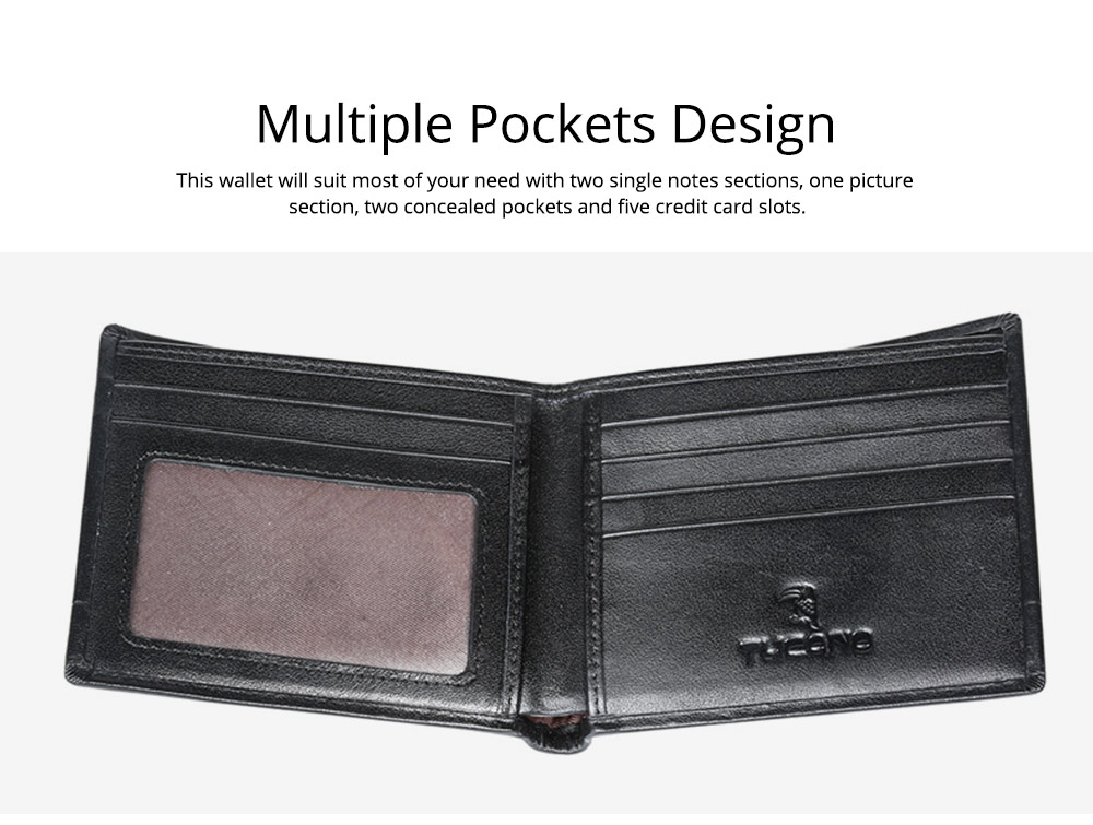 2019 Latest TUCANO Short Style Billfold for Young Men, Fashionable Genuine Leather Material Horizontal Wallet for Male 5