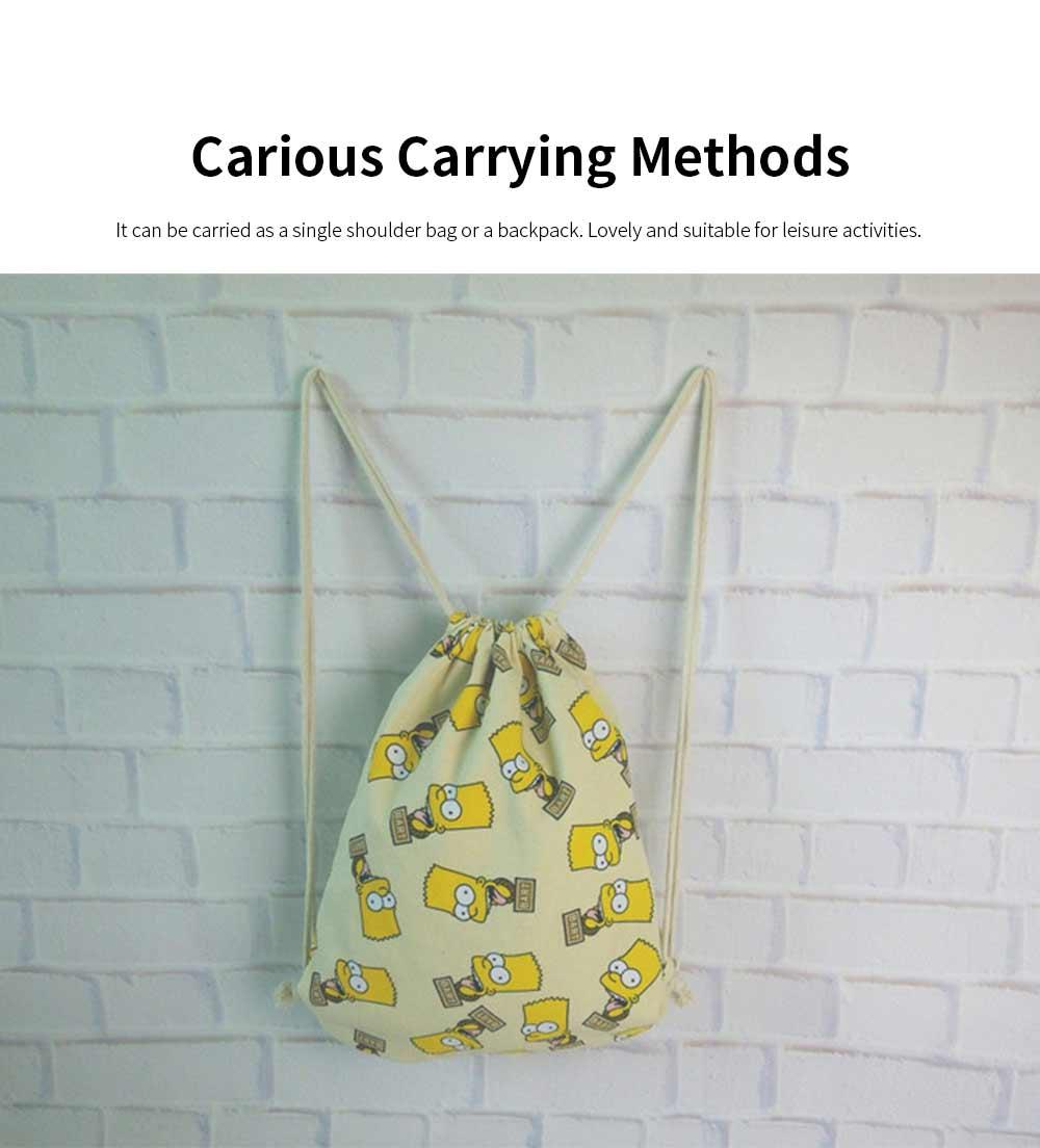 Cartoon Canvas Drawstring Schoolbag, Cactus Pattern Canvas Bundle Pocket for Students 2
