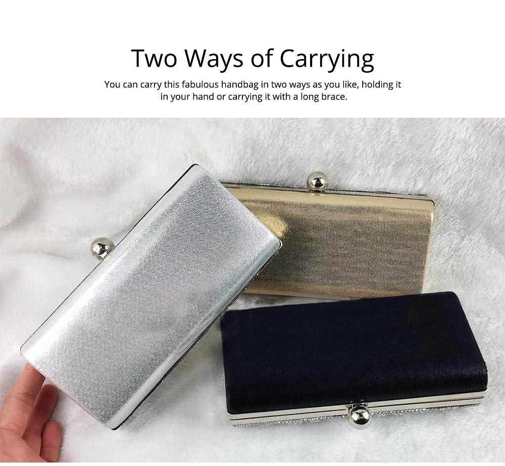 2019 Clutch Bags for Women Elegant Evening Handbag with Crystal and Pearl Decoration, Fashionable Easy Matching Clutch for Dinner Parties 5