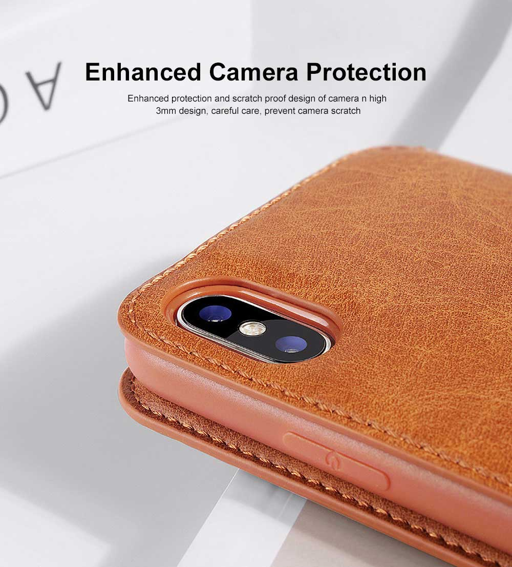 Ultra-soft Genuine Leather Crash-resistant Phone Case Pouch with Soft Shell Edge Designed with dormancy Function & Card Slot for iPhone 6.5 inch, 6.1 inch, 5.8 inch 3