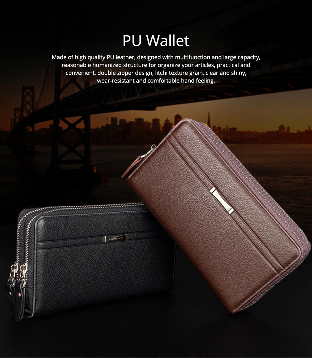 Large Capacity PU Leather Clutch Bag Wallet for Men, Double Zipper Multiple Card Positions Fashion Handbag Phone Bag 0