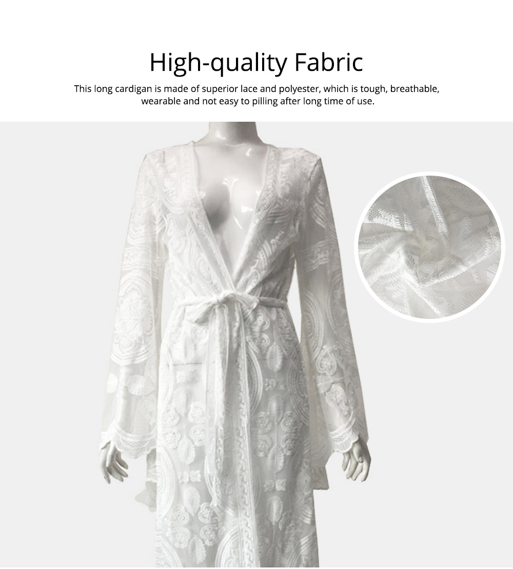 Creative Delicate Crochet Lace Polyester Long Cardigan, Fashion Sexy Bohemian Style Ladies Breach Evening Dress 1