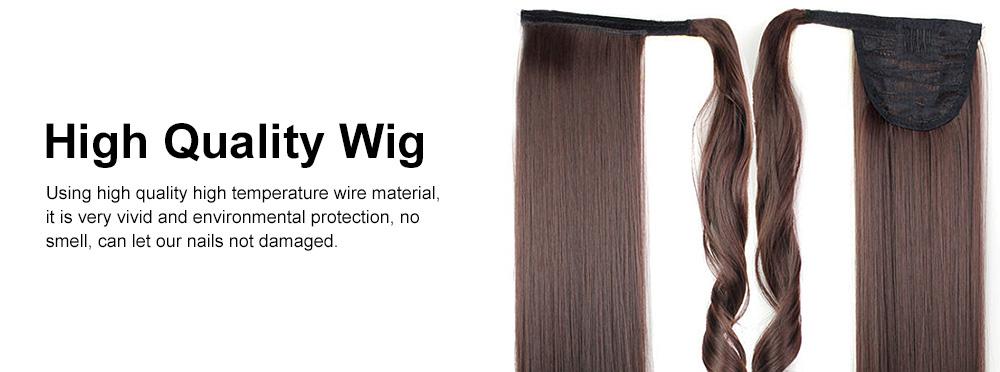 Lifelike & Vivid Wig Chemical Fiber Long Straight Hair Curly Magic Tape with Binding Design 3