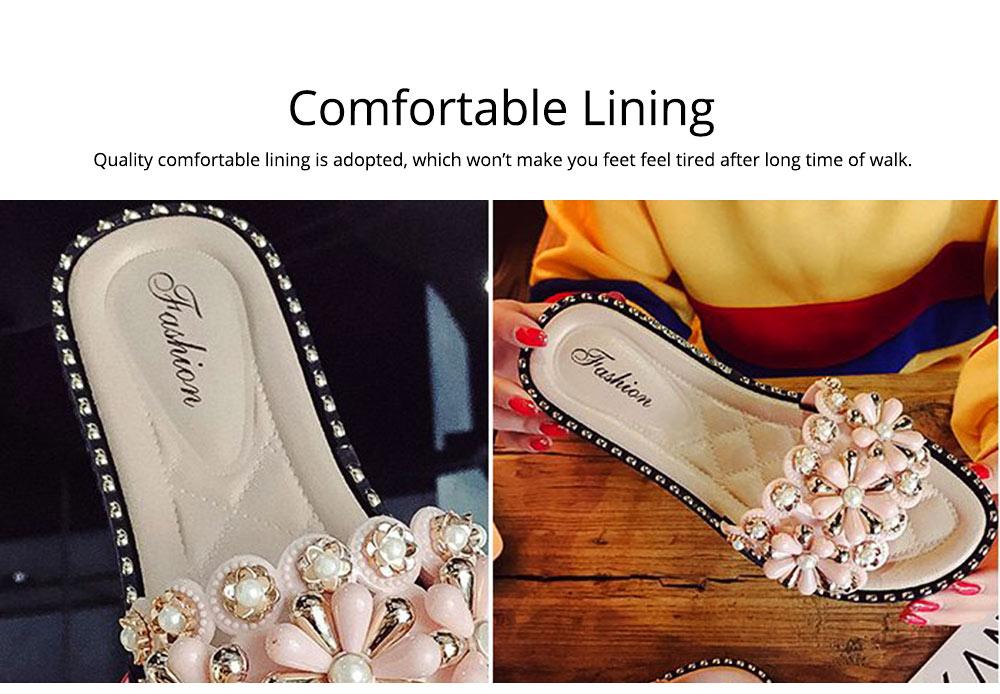 Elegant Fancy Flower Rhinestone Pearl Decoration Lady Sandals, Soft Comfortable PU Leather Fashion Sandals for Women 2