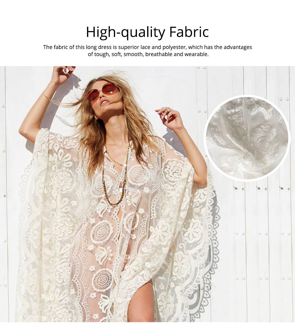 Delicate Fancy Crochet Hollow Lace Grenadine Long Dress, Sexy Fashion Flower Model Ladies Breach Evening Dress 1