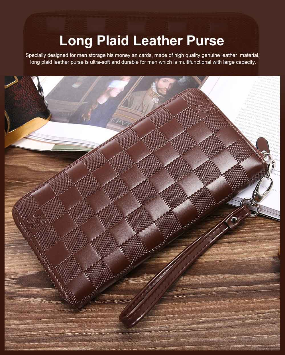 Long Plaid Leather Purse Wallet with Hardware Zipper Design, Stylish & Durable Handbag for Men 0