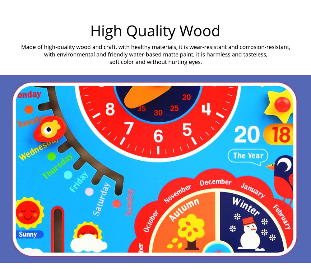 Calendar Wooden Clock Puzzle Hanging Board Multifunctional Daily Learning Digital Season Cognitive Children Toys for 3 to 6 years kids 4