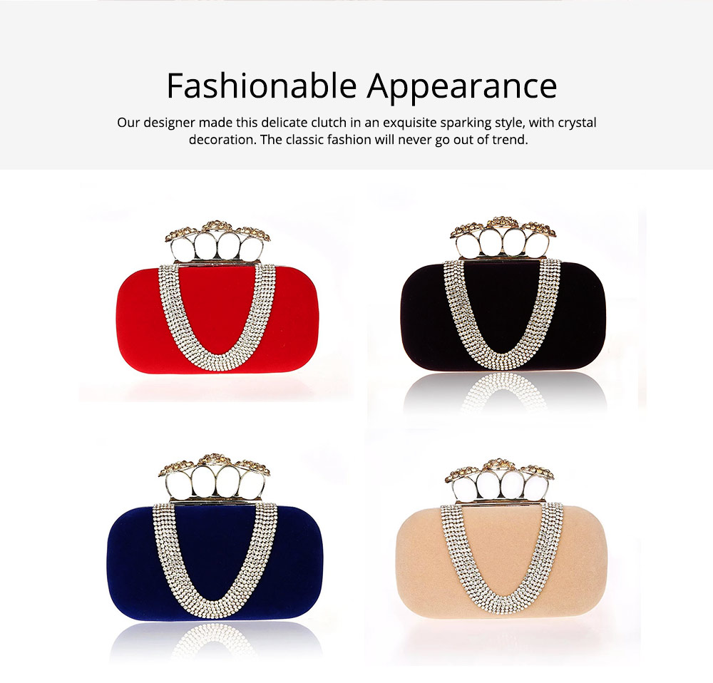 Korean Style Fashionable Velvet Evening Handbag, Superior Easy Matching Clutch Bag with Crystal for Dinner Party, Cocktail Prom 4