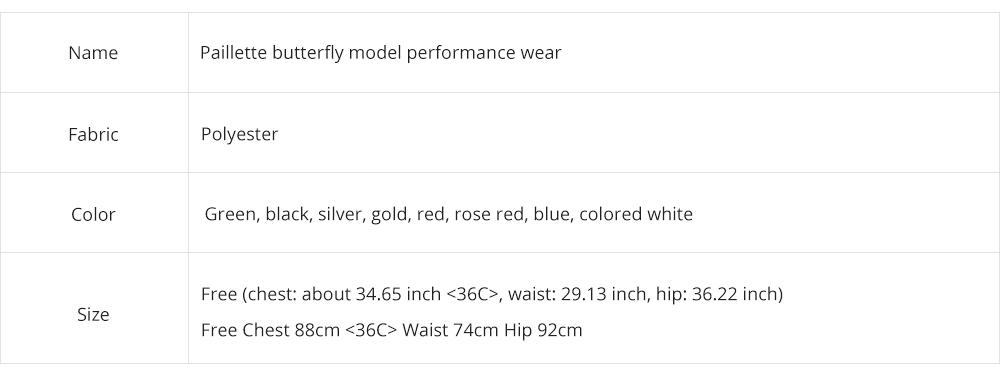 Sexy Stylish Shiny Paillette Butterfly Model Performance Wear, Soft Mesh Polyester Lace-up Backless Party Wear 7
