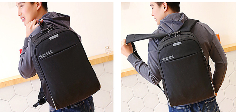 Multifunctional Minimalist Water-proof Student Backpack, Outdoors Travel Shoulder Bag with USB Charging Port Earphone Hole 13