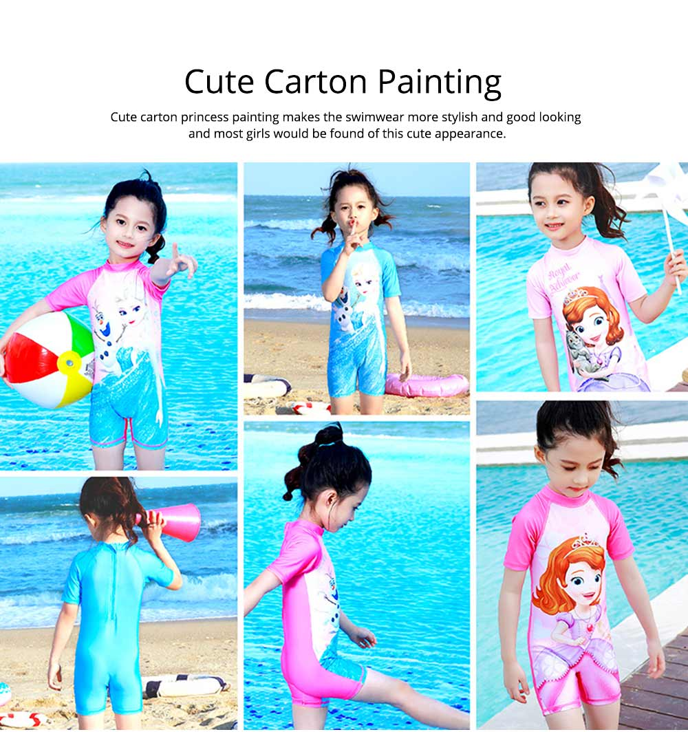 Cute Carton Frozen Elsa Painting Girl Swimwear, Skin-friendly Quick-dry Polyester Children Beach Surfing Wetsuit 5