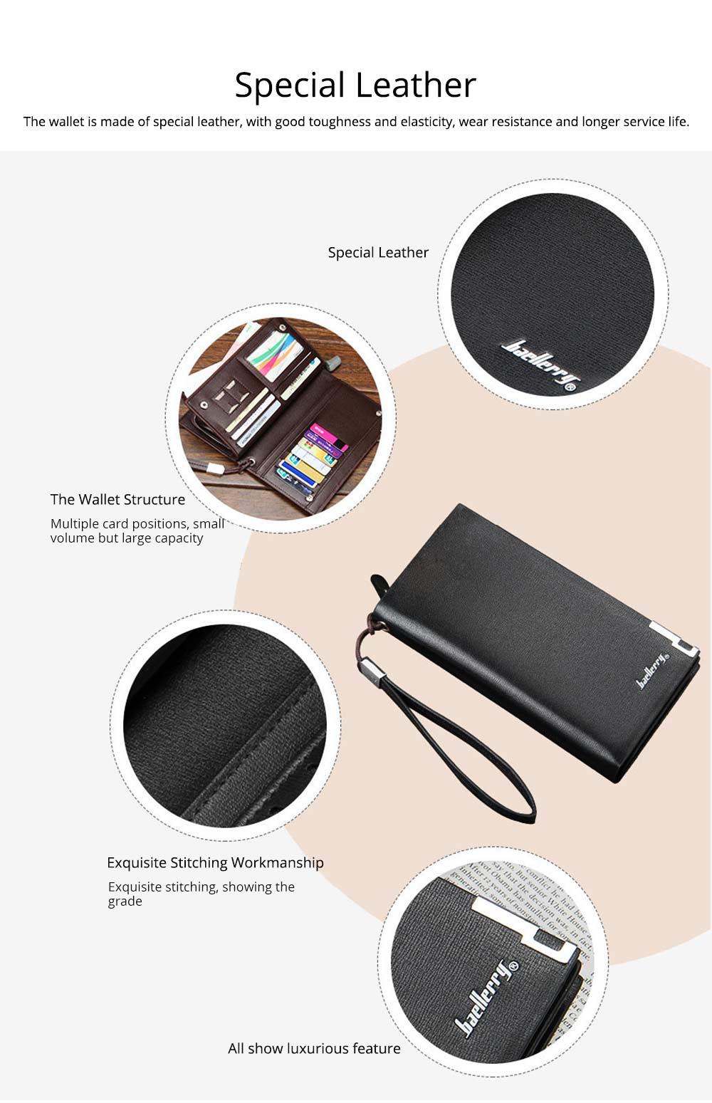 Baellerry Long Wallet for Men PU Leather Large Capacity Zipper Multiple Card Position Change Bag Handbag 1